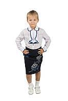 Юбка для школы с красивой вышивкой