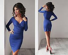 Элегантное облегающее короткое синее платье
