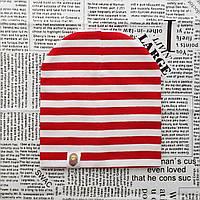Шапка Варе Kids  трикотажная белая с красными полосками, фото 1