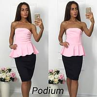Стильный женский костюм: юбка-карандаш и элегантная блуза с баской