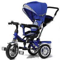 """Велосипед 3 х колесный с ручкой TR16002: колеса 10-12"""", ремни безопасности, подножка, синий"""