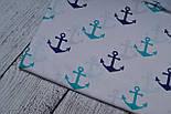 Лоскут ткани №218а с якорями синего и зелёно-бирюзового цвета, размер 36*80 см, фото 2