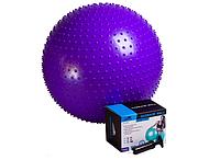 Фитбол массажный 55см + насос PowerPlay фиолетовый