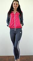 Женский спортивный костюм с лосинами малина/серый