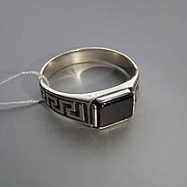 Срібний чоловічий перстень з оніксом і орнаментом, фото 2