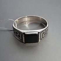 Срібний чоловічий перстень з оніксом і орнаментом, фото 3