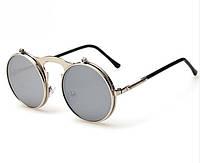 Солнцезащитные круглые очки с одинарными флипами, металлическая оправа, хром покрытие