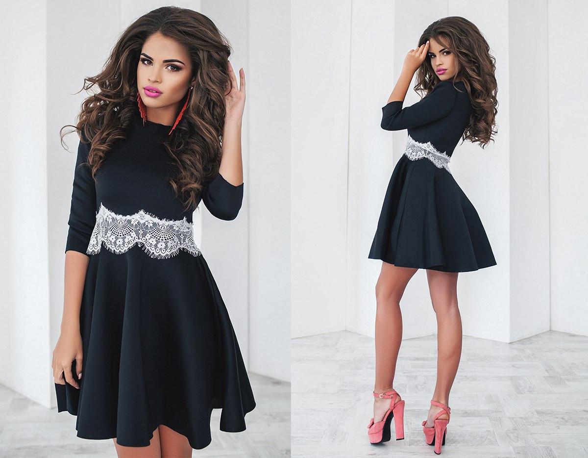 Изящное платье черное рукав 3/4 с французским кружевом на поясе и юбкой солнцеклеш