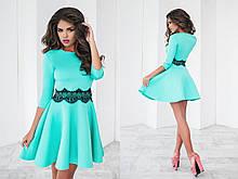 Изящное платье цвет мята рукав 3/4 с французским кружевом на поясе и юбкой солнцеклеш