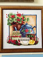 Картина крестом Чай+клубника