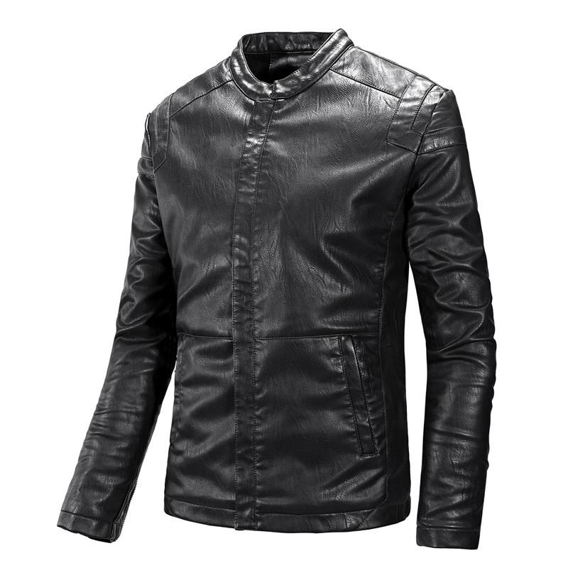 Кожаная мужская куртка  (PU кожа), черный