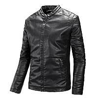 Кожаная мужская куртка  (PU кожа), черный, фото 1