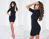 Короткий облягаюче трикотажне плаття чорне, фото 2