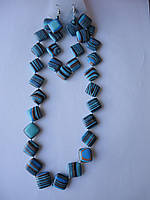 Агат африканский голубо-синий Комплект бусы, серьги, браслет Ромб 15 мм