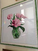 Картина крестом Розовые тюльпаны