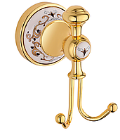 Крючок двойной для полотенец KUGU Medusa 710G Gold