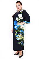 Платье большого размера Очарование (2 цвета), дропшиппинг, платье с цветами батал, супербаталы