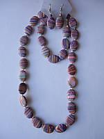 Агат африканский розово-голубой Комплект бусы, серьги, браслет  Овал 18*12 мм