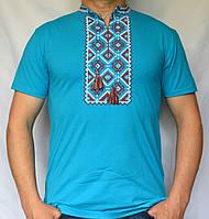 Вышитая футболка с коротким рукавом