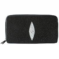 Универсальный кошелек клатч на 2-х молниях из натуральной кожи ската, цвет черный