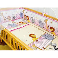 Детское постельное белье бортики бампер защита для кроватки в кроватку бязь-Мадагаскар