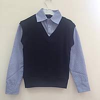 Школьная рубашка- обманка черная для мальчиков оптом р.116-122-128-134