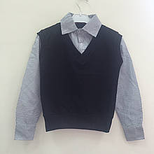 Школьная рубашка- обманка черная для мальчиков оптом р.116-122-134