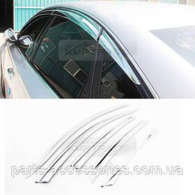 Audi A6 C7 2012-16 хромовые ветровики дефлекторы на окна новые