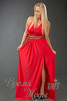 Платье из масла в пол, украшено камнями, пояс атласный съёмный. /Красное/