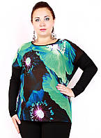 Футболка женская 623 одуванчик д/рукав, кофточка большого размера, одежда для полных женщин,дропшиппинг