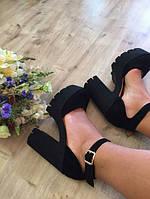 Туфли черные натуральный замш на каблуке