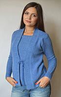 Кофта женская из ангоры (обманка) синяя с бусинами, 48-54 р-ры