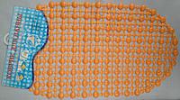 Коврик силиконовый антискользящий для ванной оранжевый