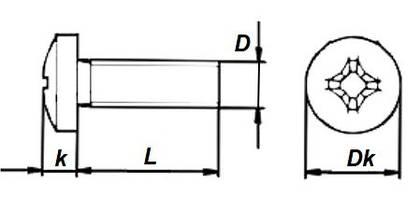 Винт с полуцилиндрической головкой DIN 7985 цб - параметры