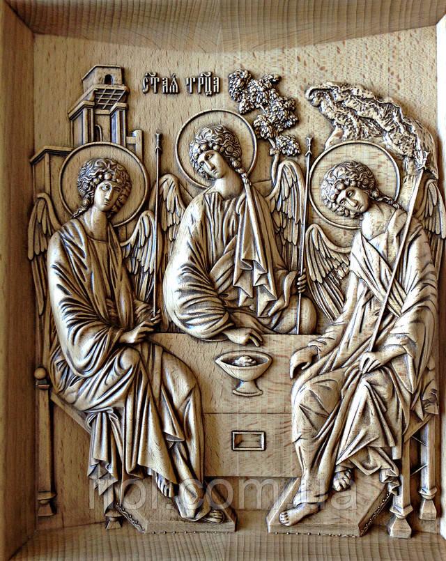 икона деревянная святая троица