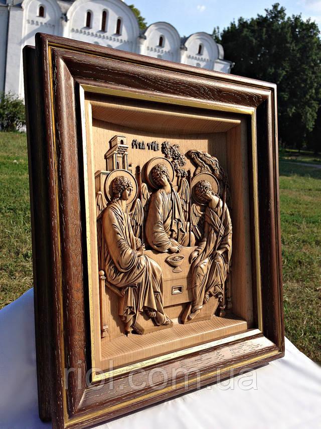 икона резная из дерева святая троица