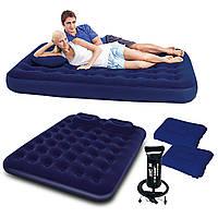 Двухместный надувной матрас bestway 67374 + ручной насос и 2 подушки