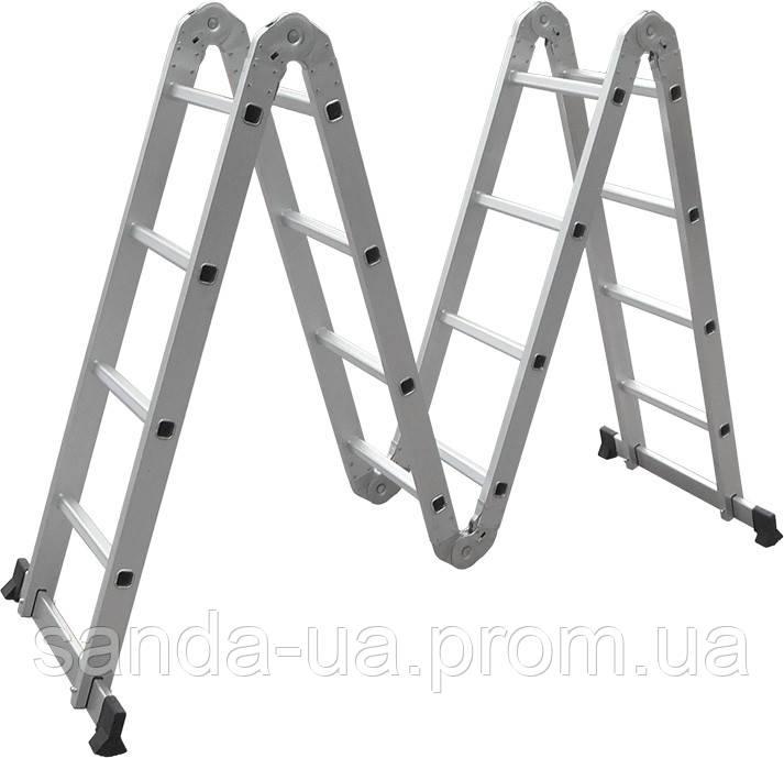 Лестница трансформер алюминиевая многофункциональная (4*4 ступ., 4780мм)