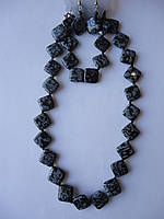 Комплект бусы, серьги, браслет Обсидиан Ромб 15 мм