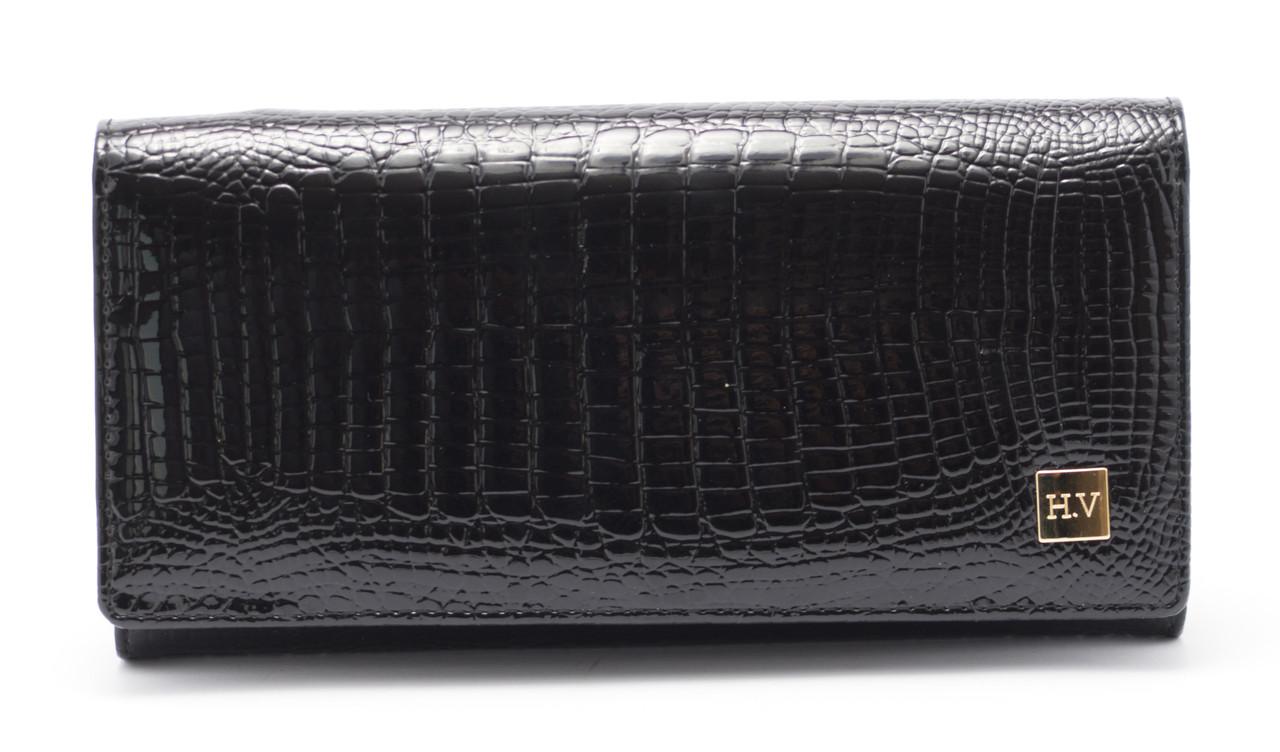 Женский качественный кожаный кошелек лак классика H. Verde art. 2030-67 black