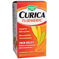 Куркумин от боли (Curica, Turmeric, Pain Relief), Nature's Way, 600 мг, 60 вегетарианских капсул
