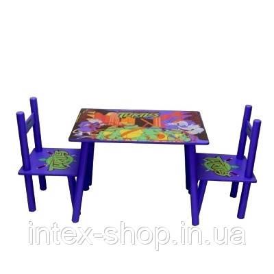 Столик Bambi (Metr+) M 0709 с двумя стульчиками Черепашки ниндзя