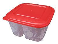 """Пищевой контейнер пластиковый (судок) 0,8 литра """"Ланч"""" на две секции """"ПолимерАгро"""" + Видео"""