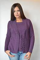 Кофта женская из ангоры (обманка) фиолетовая с бусинами, 48-54 р-ры