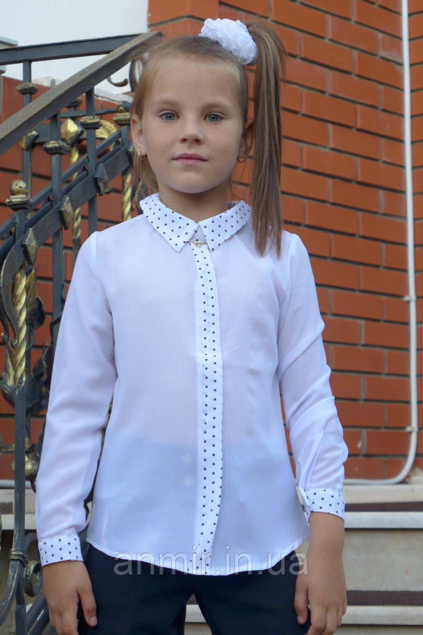 Блузка школьная детская для девочки 6-12 лет,белая , фото 1
