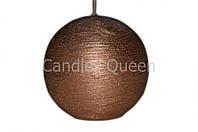 Свеча шар текстурный d -7 cm цвет коричневый мерцание