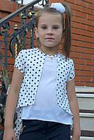 Блузка школьная детская для девочки 6-12 лет,белая в горошек
