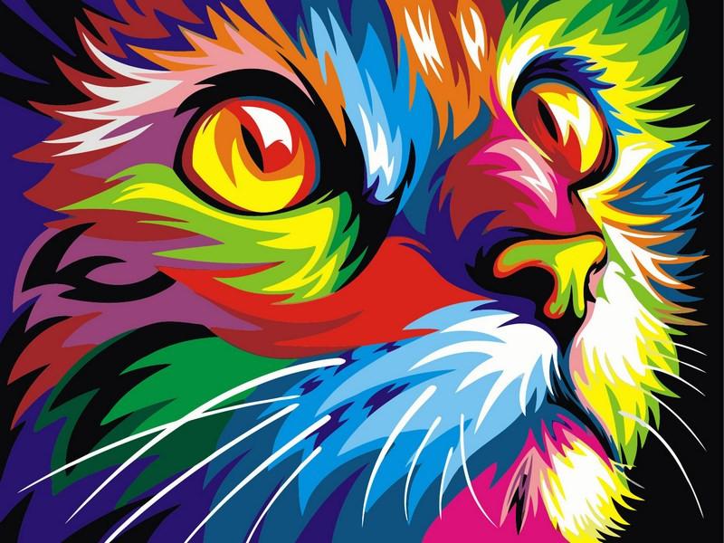 "Картина-раскраска Турбо ""Радужный кот"" худ. Ваю Ромдони (VK002) 30 х 40 см"