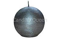 Свеча шар текстурный графит d -7 cm