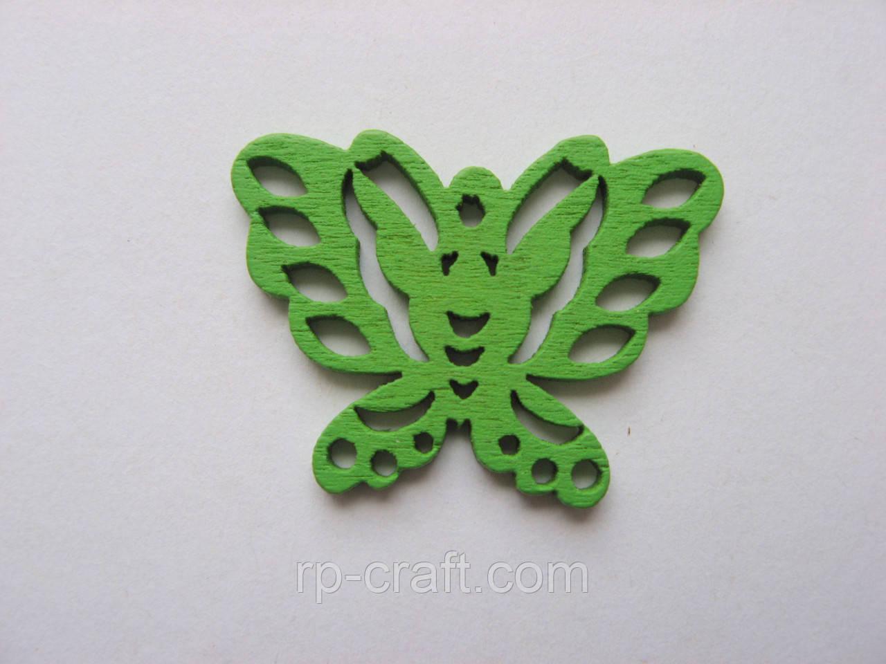 Підвіска дерев'яна. Метелик зелена